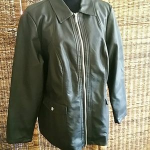 Dennis Basso Faux Leather Zip Front Jacet
